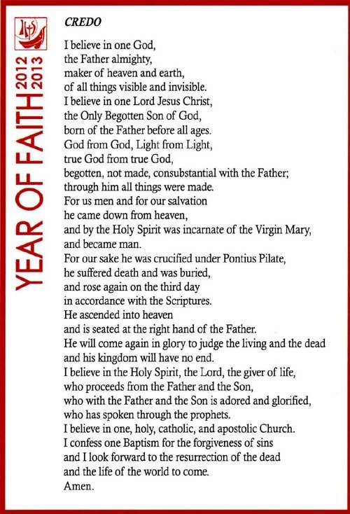The Prayer for The Year of Faith - Our Profession of Faith: The ...